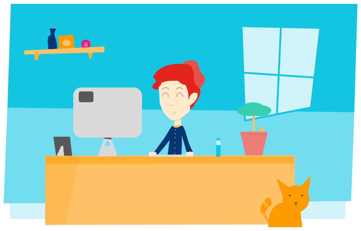 juiste zithouding tijdens thuiswerken aan bureau